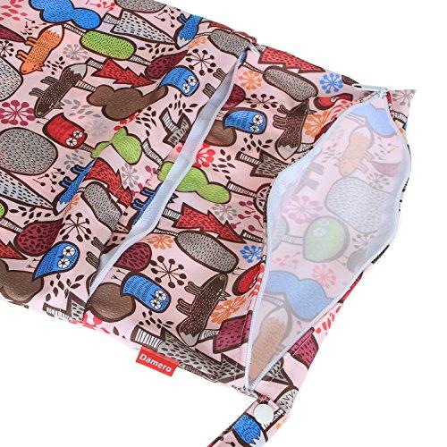 Damero 2pcs Paquete de viaje lindo mojado bebé y pañales de tela en seco bolsa de asas Organizar--Grande(Verde+Azul claro) Naranja+Árbol