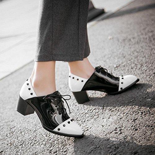Mostra Brillantini Da Donna Eleganti Rivetti Colori Assortiti Scarpe Stringate Con Stringhe Bianche