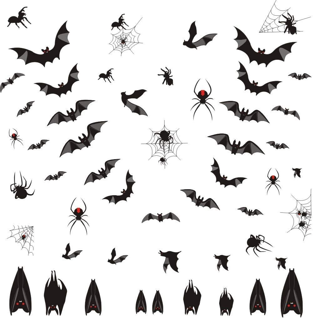 Halloween Bats Wall Decal, Window Clings Sticker with Bats Spider Spiderweb, Spooky Bats Sticker for Halloween Party Supplies (58 pcs)