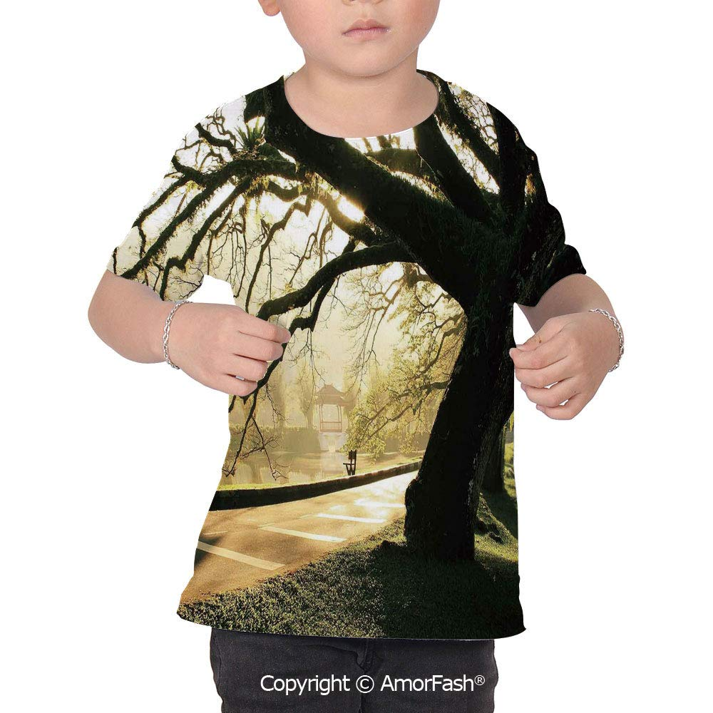 PUTIEN Tree Girl Regular-Fit Short-Sleeve Shirt,Personality Pattern,Taiping Lake Garden