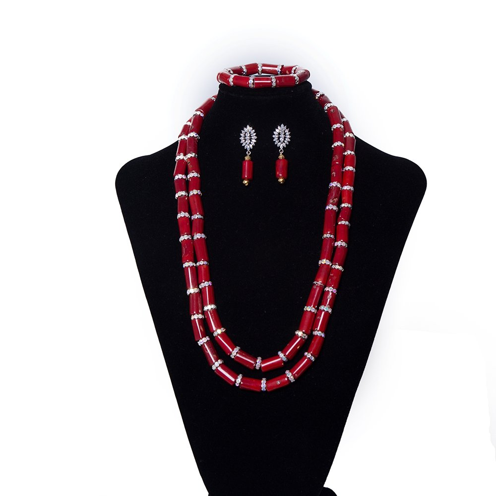 AMYNOVA Amazing Red Coral Wedding Jewelry Set Luxury African Bridal Wedding Jewelry Set Mother's Day Gift for Women