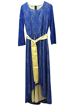 LaoZan Mujeres Vestido de Fiesta Largos de Noche Cuello Rotundo de Encaje de Manga Larga Asimétrica