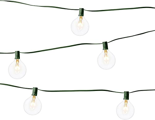 LampLust Patio Globe String Lights – Commercial Grade, G16.5 G40 Clear Bulbs, 28 Ft. Green Wire, Indoor Outdoor, Connectable, Plugin – UL Listed