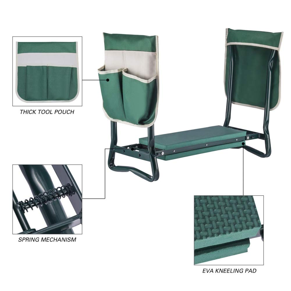YANEE Foldable Kneeler Garden Bench Stool Soft Cushion Seat Pad Cushion Kneeling, Tool Pouch, Material: Steel Pipe, EVA, Dimensions: 22 3/4'' W × 11'' D × 19 1/3'' H by YANEE (Image #9)
