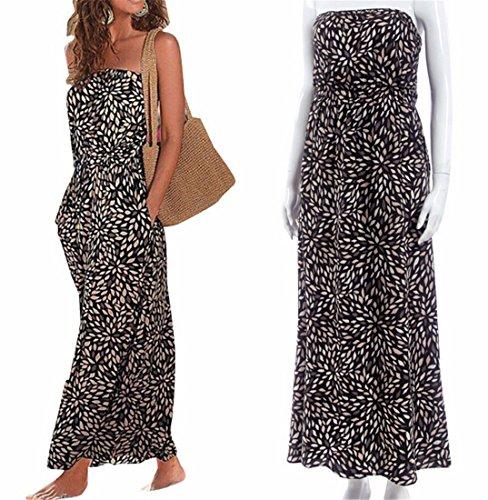 Summer Cocktail Fashion Long Dress Maxi Shoulder Sexy Beach Off Women Bohemia Black HxwqC6