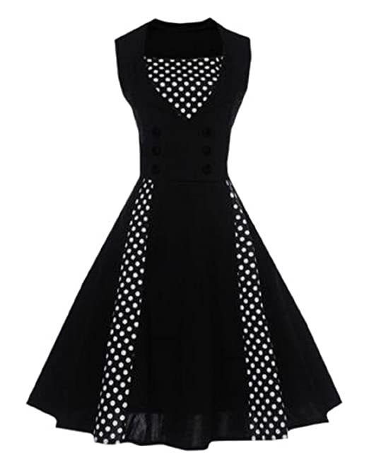 Lapiness Womens Swing Dress Polka Dot Retro Vintage Style Prom Cocktail Party (Black, Large