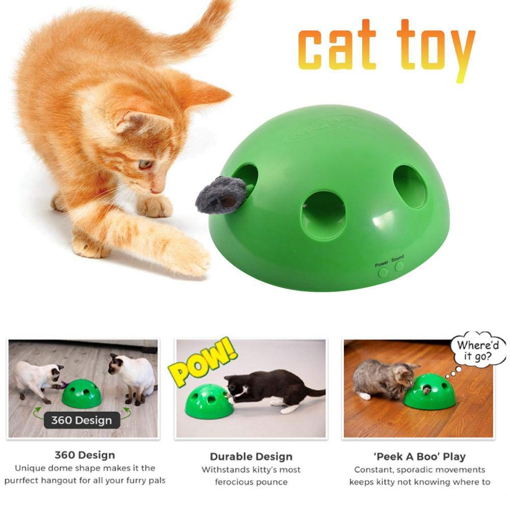 JUNMAO Cat Interactive Toys,Play Interactive Motion Cat Toy, Funny Cat Scratching Training Toy for Pet Kitty Cats Electronic Smart Random Moving Feather Mouse Teaser (Green) by JUNMAO