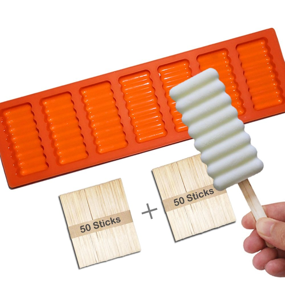 Silicone Popsicle Molds BPA Free, Ice Pop Molds Popsicle Maker with Seal Lid and 50 Popsicle Wood Sticks, (5 Cavities) Shenviz