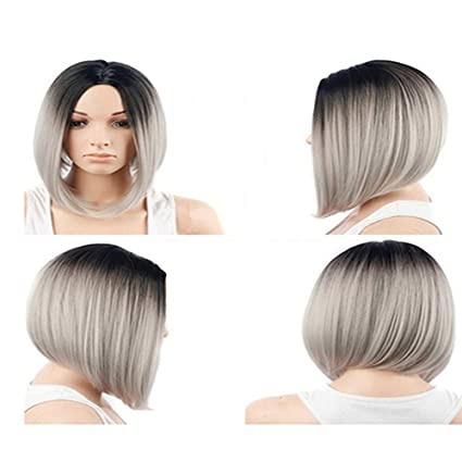 Amazon.com  Fashion Hairstyle Short Straight Bob Sliver Synthetic ... 1be9028136d