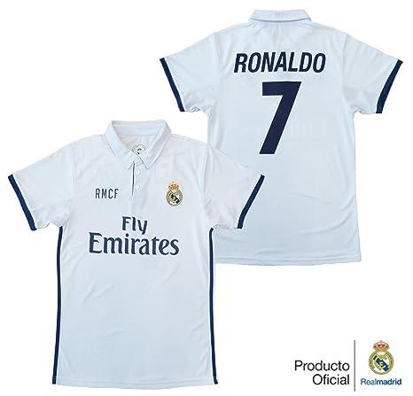 REAL MADRID- Camiseta 1ª Equipación Adulto 2016-2017, Réplica Oficial Cristiano Ronaldo-