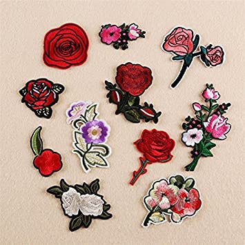 6pc Flower Rose Embroidered Patches Iron On Appliqué