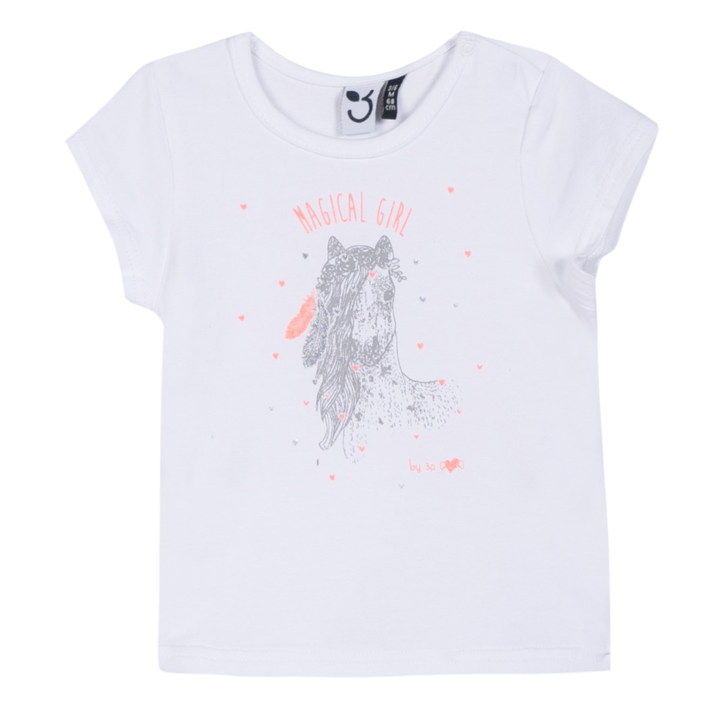 3 Pommes Baby Girls' T-Shirt White (Blanc 01) 6-9 (Sizes: 6/9 Months) 3L10002