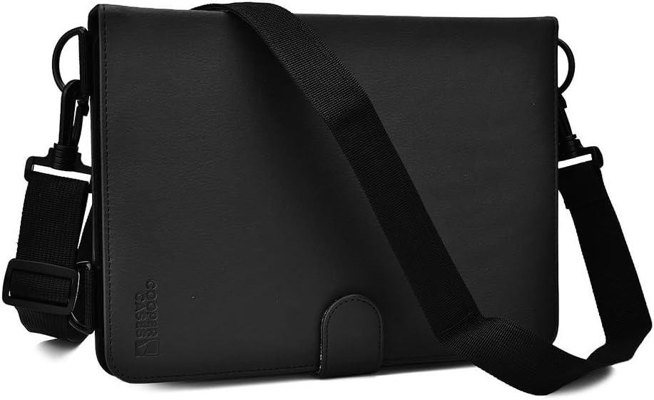 Cooper Magic Carry Shoulder Strap Case for 9, 9.7, 10, 10.1'' inch Tablets   Travel Rugged Shock Proof Protective, Vegan Leather (Black)