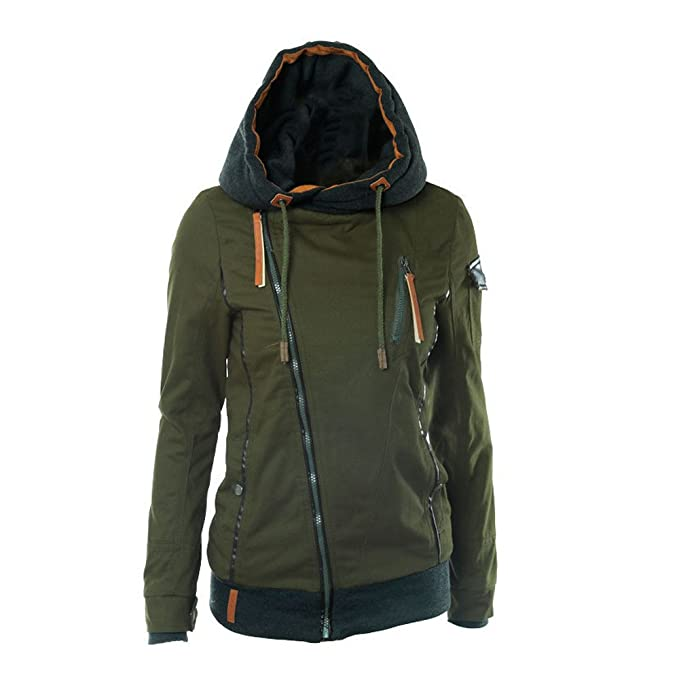 Ularma Abrigos de la mujer, Invierno caliente Zip abrigos sudaderas con capucha (S,