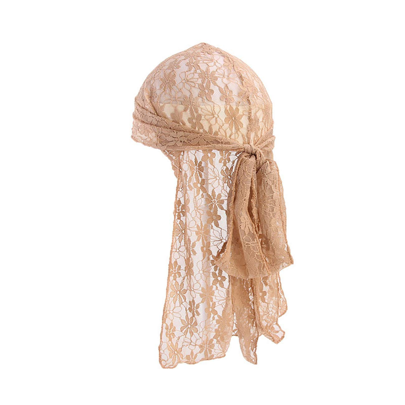 Khaki Bigsweety Frauen Chemo Hat Elastic Ladies Sch/öne Spitze Long Tail Head Wrap Caps F/ür Krebspatienten