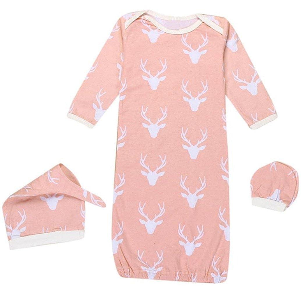SUPEYA Baby Boys Girls Reindeer Print Sleeper Gown Sleepsack Hat 3Pcs Set Outfits
