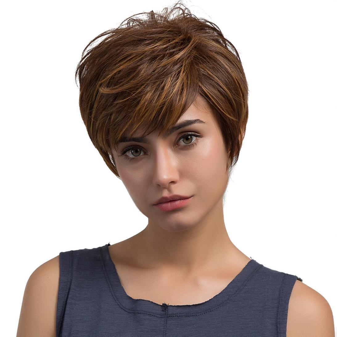 Hechun Natural Light Brown Straight Short Hair Wigs Short Women's Fashion Wig New Good Mood Every Day for Theme Party Performance KTV (Brown) by Hechun