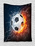 Ambesonne Sports Decor Collection, Soccer Ball on Fire and Water Flame Splashing Thunder Lightning Abstract Image, Bedroom Living Room Dorm Wall Hanging Tapestry, Orange Navy White