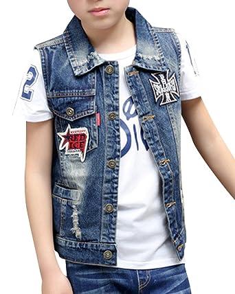a992ff64d90 ShiFan Kids Boys Ripped Jean Jacket Short Outerwear Vest Denim Tops  Amazon. co.uk  Clothing