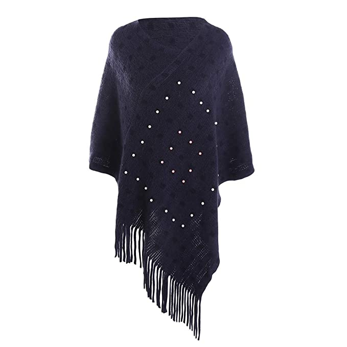 993a282fb7f64 iFOMO Winter Warm Pullover Pearl Decoration Fringed Cashmere Shawl for Women (Navy,55.1x19
