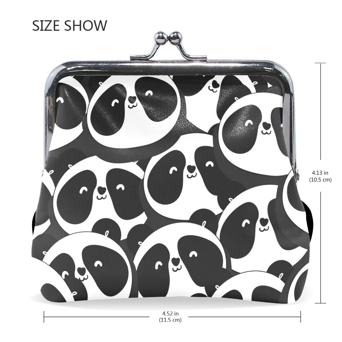 Fashion Womens Coin Purse Black And White Animal Bear Vintage Pouch Mini Purse Wallets