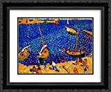 This is a high quality framed and double matted open edition art print. The frame is a two inch black ornate wood frame. The high quality art print is in stock and framed within a business day of order placement. Your satisfaction is guaranteed.