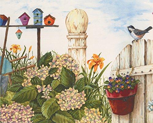 Bird Border (Country Life White Fence Birds Birdhouses Yellow Teal Flowers Wallpaper Border Retro Design, Roll 15' x 7