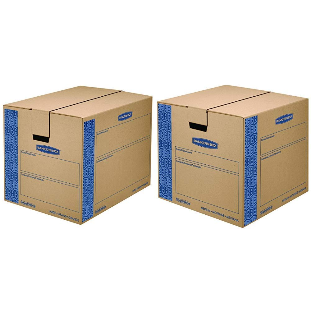 Bankers Box 0062901 SmoothMove Prime Moving Boxes, Large (Pack of 6) &  Box SmoothMove Prime Moving Boxes, Medium, 8-Pack