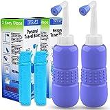 2PCS-Pack Handheld Personal Bidet - Portable Bidet Sprayer- Hand Bidet for Travel Bidet Bottle Easy-to-use with Travel Bag, 450 ml Capacity, and Angled Nozzle Spray,English Maunal (Blue)