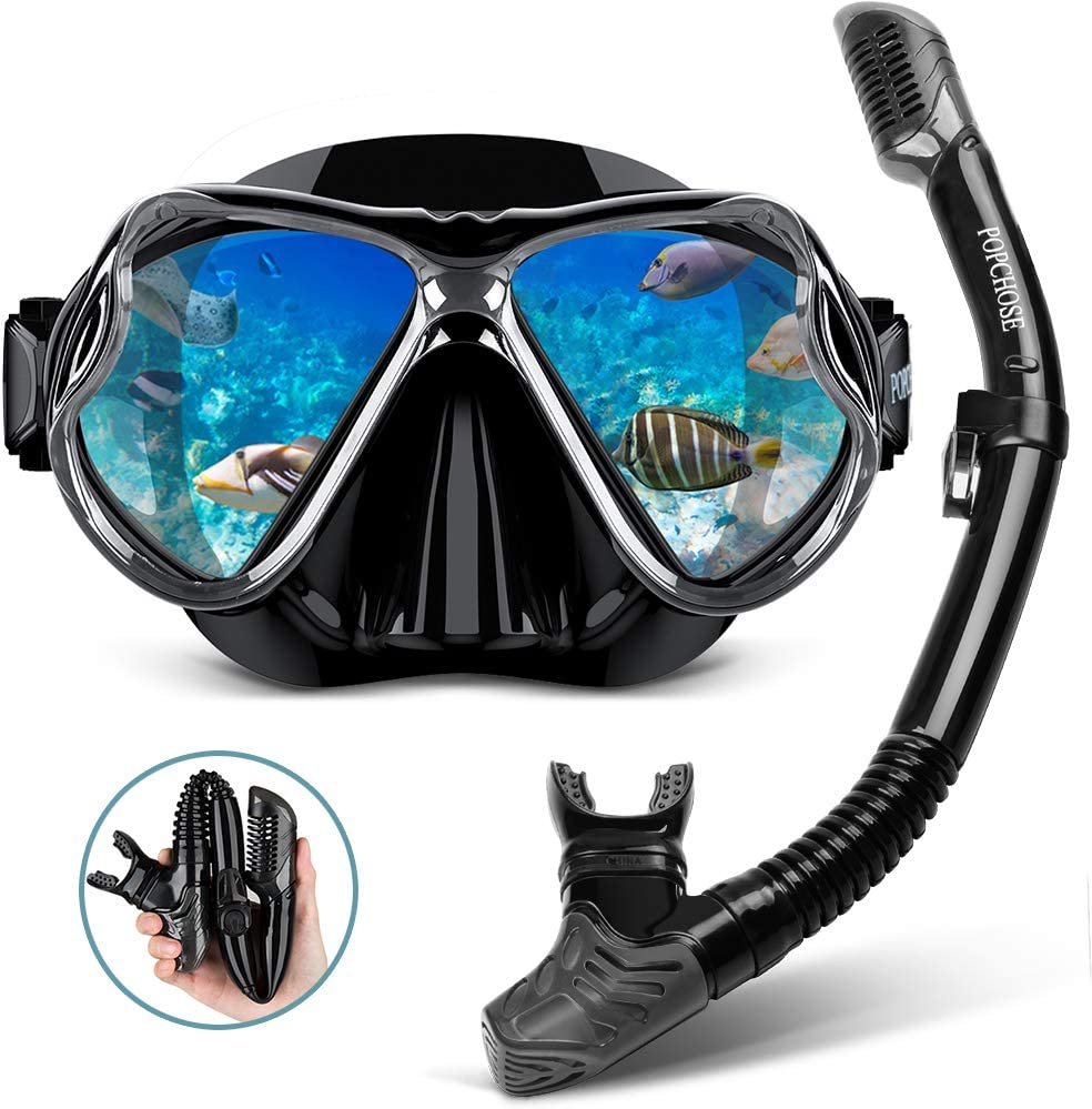 Swimming POPCHOSE Snorkel Set Silicone Snorkeling mask Set for Adults and Youth Foldable Dry Top Snorkel Anti-Leak Anti-Fog Adjustable Diving Mask Gear Mesh Bag for Snorkeling Diving