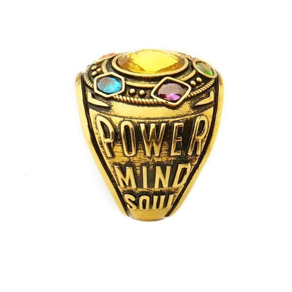 Gbell Vintage Power Rings Infinity Wars Thanos Jewelery Letter Gold Rings Statement for Men Women Teen Boys Girls Jewelry Gifts,Unisex,Size 7-12 by Gbell (Image #4)