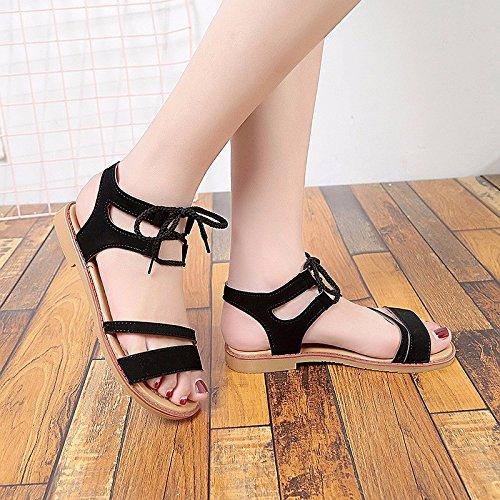 singolo scarpe piatto spiaggia donna sandali è XIAOGEGE con Nero Fondo scarpe da calzature Zqw0znngC