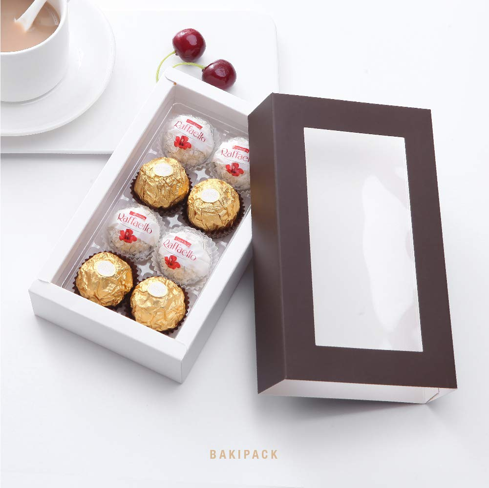 Dark Brown 10 PCS Chocolate Box Packaging BAKIPACK Truffle Box 7x4x1.5 Inches Pull Out Packing with Clear Window Sleeves Candy Boxes with 8-Piece Plastics Tray