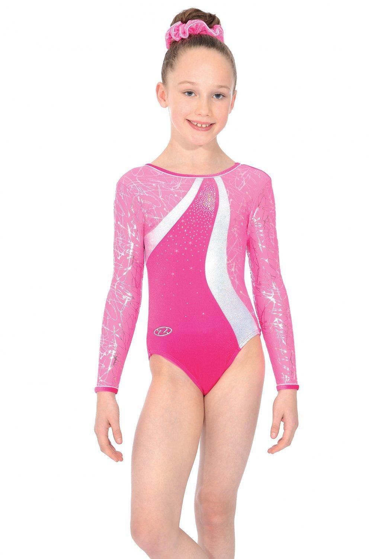 Nylon//Sparkly Foil Ladies Gymnastics Long Sleeved Leotard Gym Dancewear 10+12