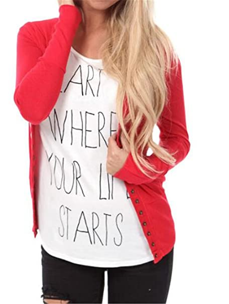 AILIENT Sudaderas Mujer Camisa Irregular con Manga Larga con Cuello Redondo Camiseta para Mujer Elegante Blusas Tops Botones Decoración Personalizadas: ...