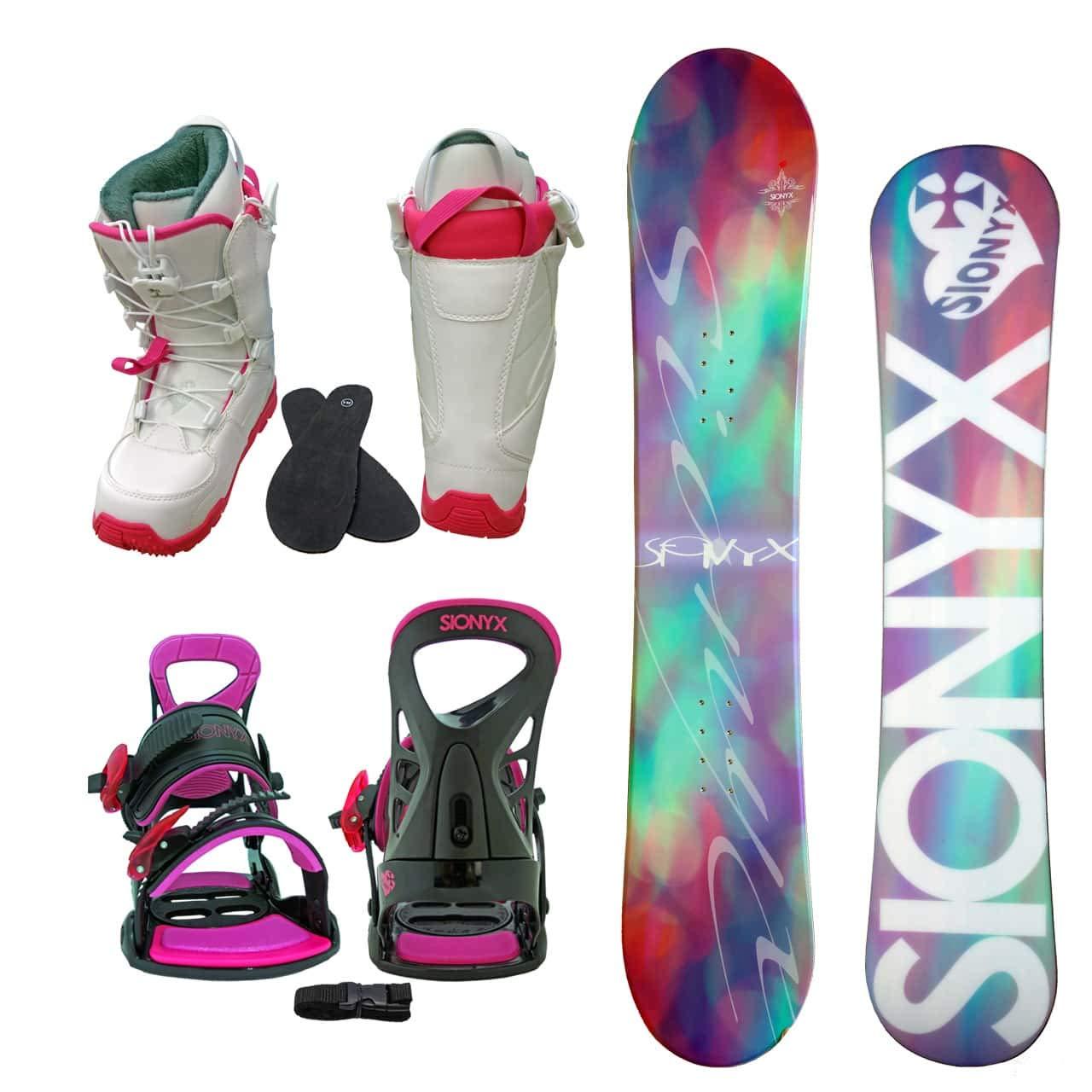 SIONYX レディース スノーボード3点セット スノボー+バインディング+クイックシューレースブーツ BELLA B07JJZ2DHD ボード 140+boots 25.0|ボード ピンク+binding ピンク+boots ホワイト ボード ピンク+binding ピンク+boots ホワイト ボード 140+boots 25.0