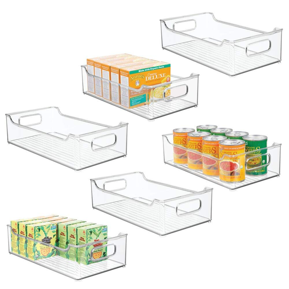 "mDesign Wide Stackable Plastic Kitchen Pantry Cabinet, Refrigerator or Freezer Food Storage Bin Box Basket Tray with Handles - Organizer for Fruit, Yogurt, Snacks, Pasta - 14.5"" Long - 6 Pack - Clear"