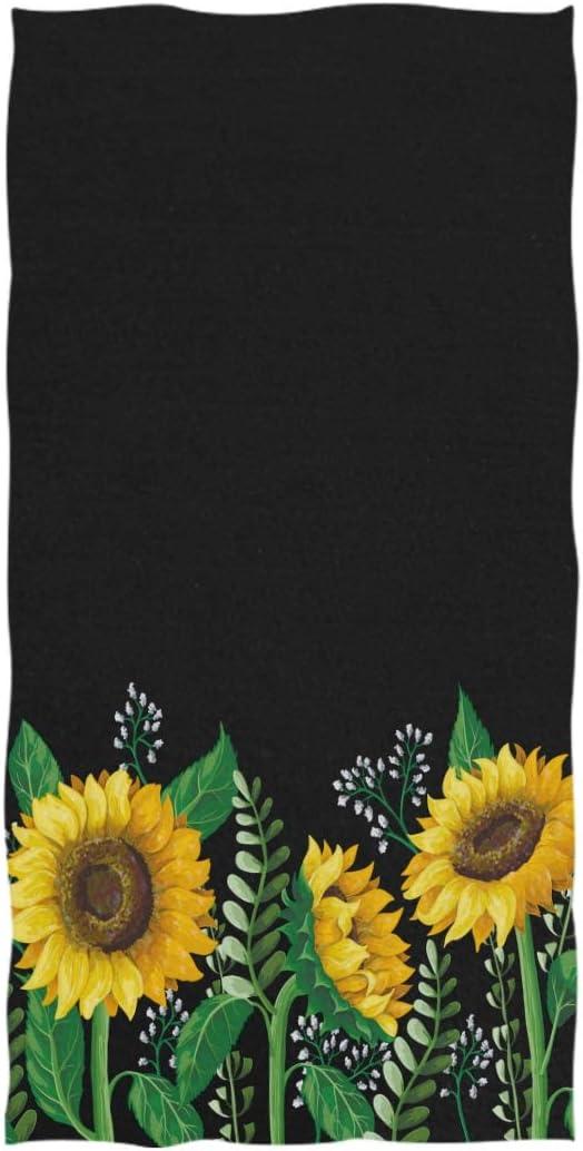 AGONA Hand Towel Boho Yellow Sunflower Floral Black Ultra Soft Absorbent Fingertip Towels Decorative Large Bath Towels Multipurpose for Bathroom Kitchen Gym Yoga Spa 30x15