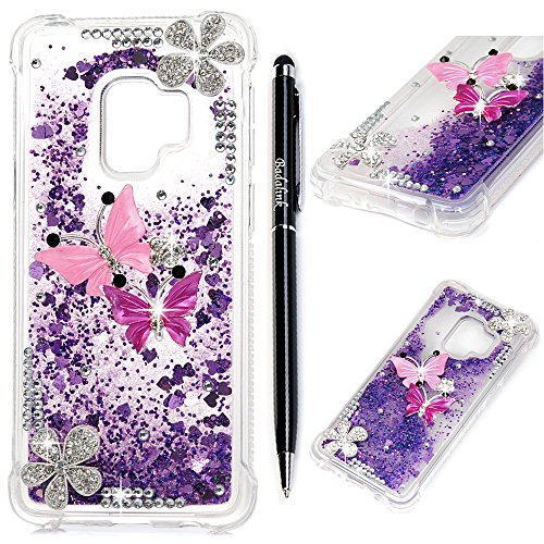 Badalink Galaxy S9 Case, Samsung S9 Diamonds Glitter Bling Sparkle Liquid Quicksand Cover Resilient Shock Absorption Drop Protection Bumper Soft TPU Shell with Stylus Pen for Samsung Galaxy S9 Purple