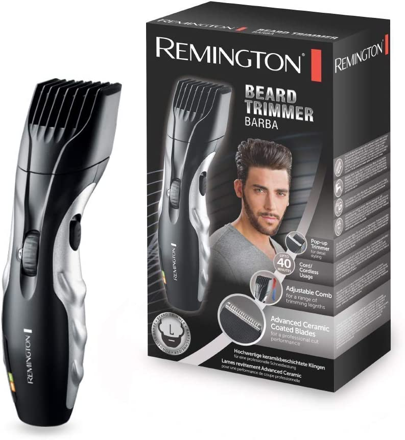 Remington Ceramic Beard MB320C - Barbero, Cuchillas Cerámica, Inalámbrico, 9 Ajustes, 1.5-18 mm, Negro