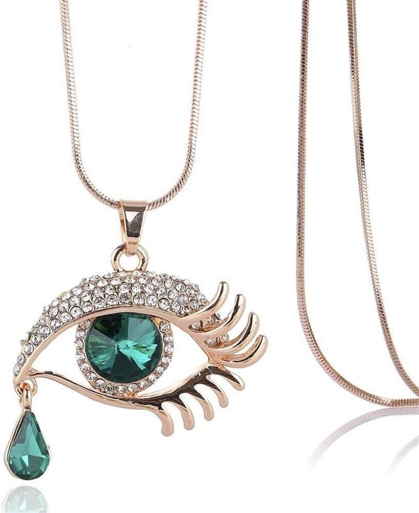 NOLOGO Collar Enlace Forma Cristal Artificial De La Piedra Preciosa Oval De La LáGrima De Los Ojos del Grano De La Cadena Colgante del DiseñO Diseño Elegante e raffinato (Color : Green)