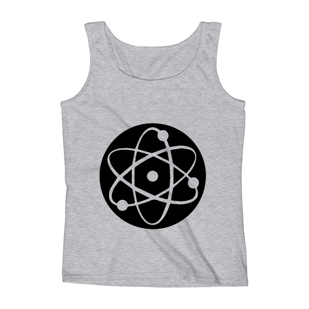 Mad Over Shirts Atom Electrons Protons and Neutrons Chemistry Unisex Premium Tank Top