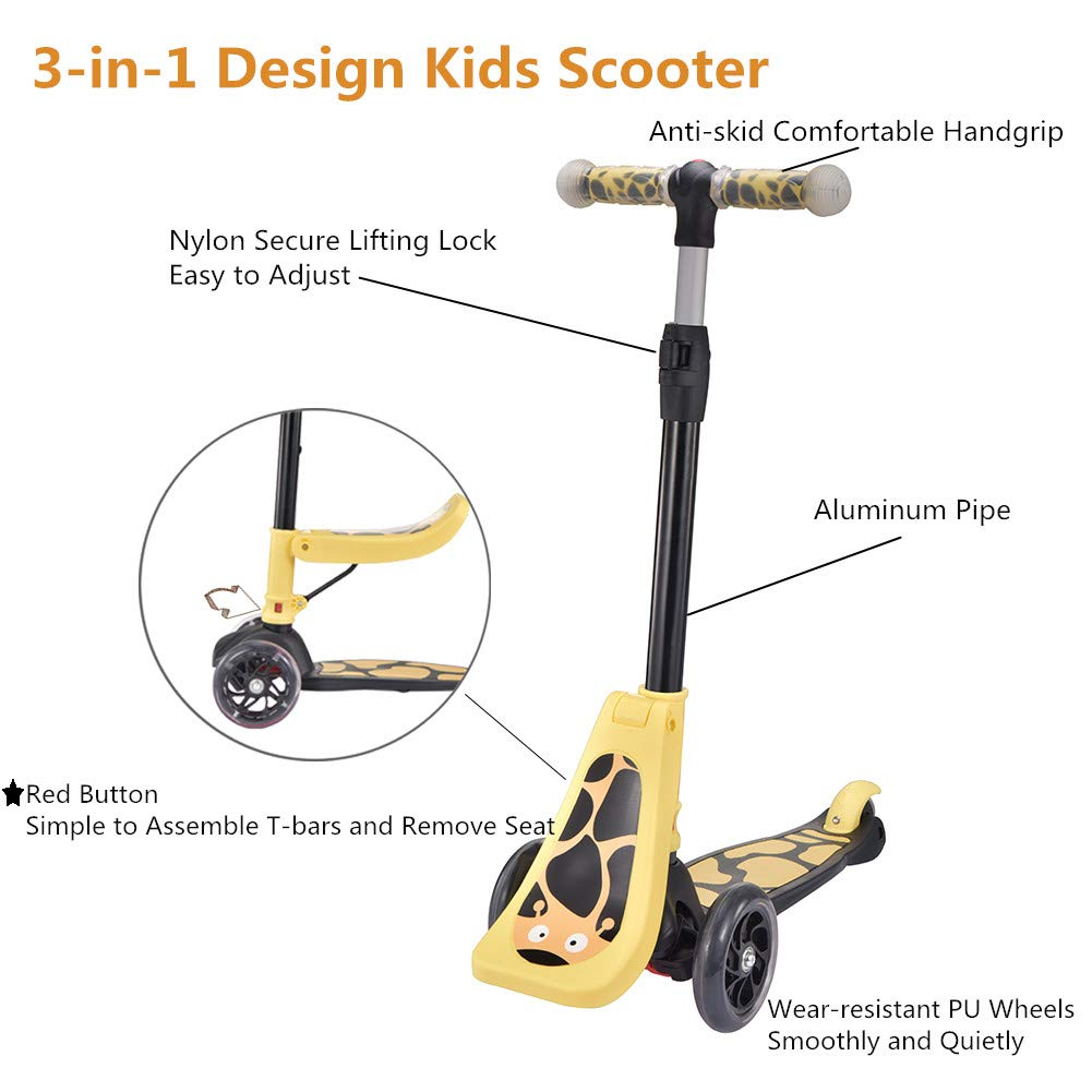 Amazon.com: OLYM - Patinete para niños 3 en 1 Mini Scooter ...