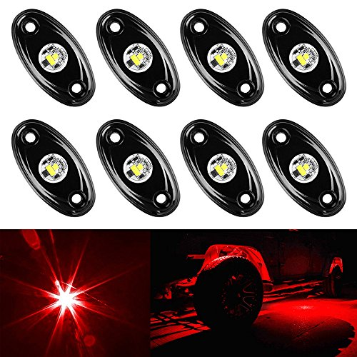 (Amak 8 Pods LED Rock Lights Kit Red Underbody Glow Trail Rig Light Waterproof Underglow LED Neon Lights for JEEP Off Road Trucks Car ATV SUV Vehicle Boat -)