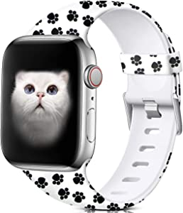 Nofeda Floral Bands Compatible with Apple Watch 40mm 38mm for Women Men, Soft Fadeless Pattern Printed Sport Band Replacement for iWatch Series 5,4,3,2,1, M/L, Paw