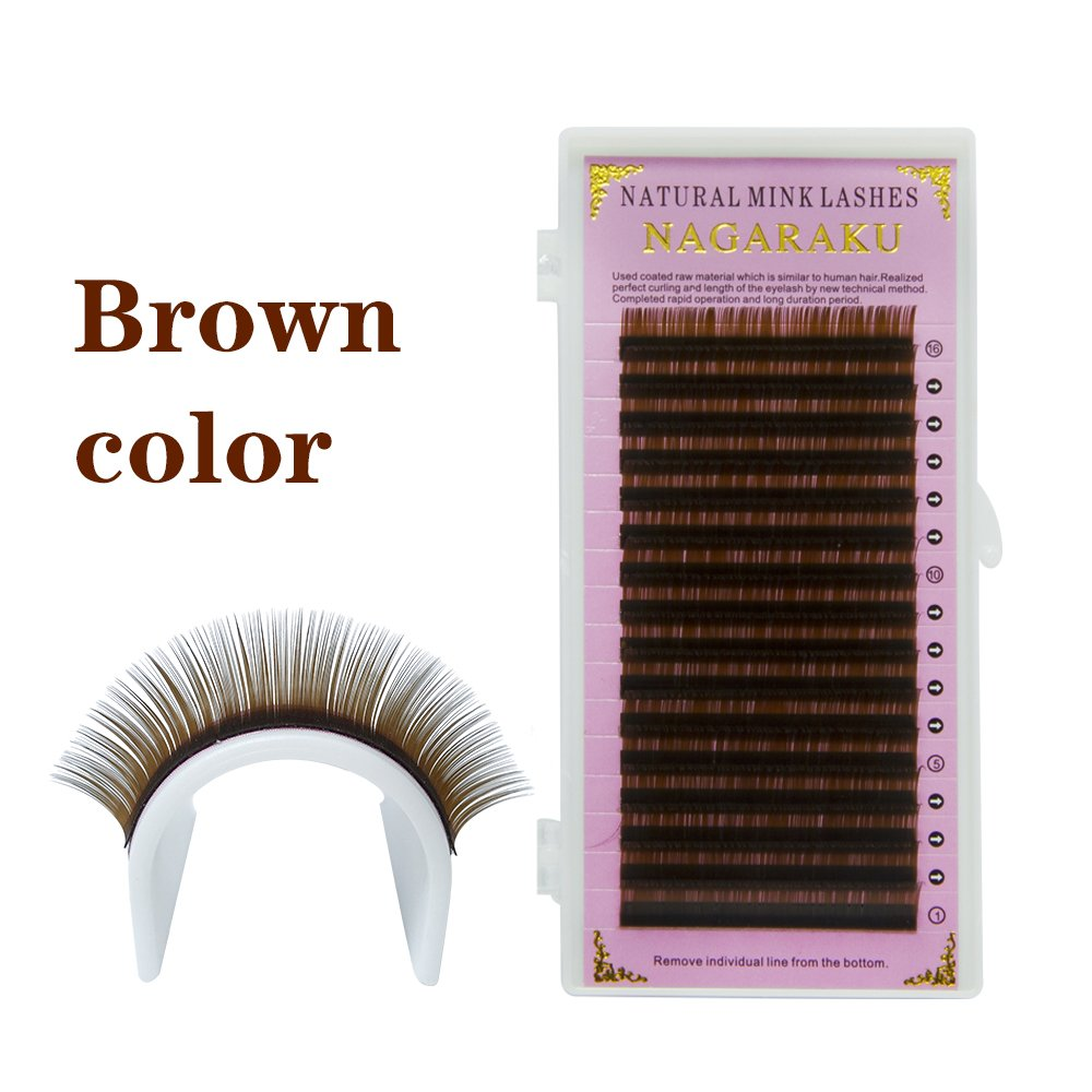 f2f47a89a79 NAGARAKU C 0.10 mm Faux mink Brown Color Eyelash Extensions 8mm, 9mm, 10mm,  12mm 4 Trays Single Length in one Tray Brown Lashes (4 cases/set):  Amazon.ca: ...