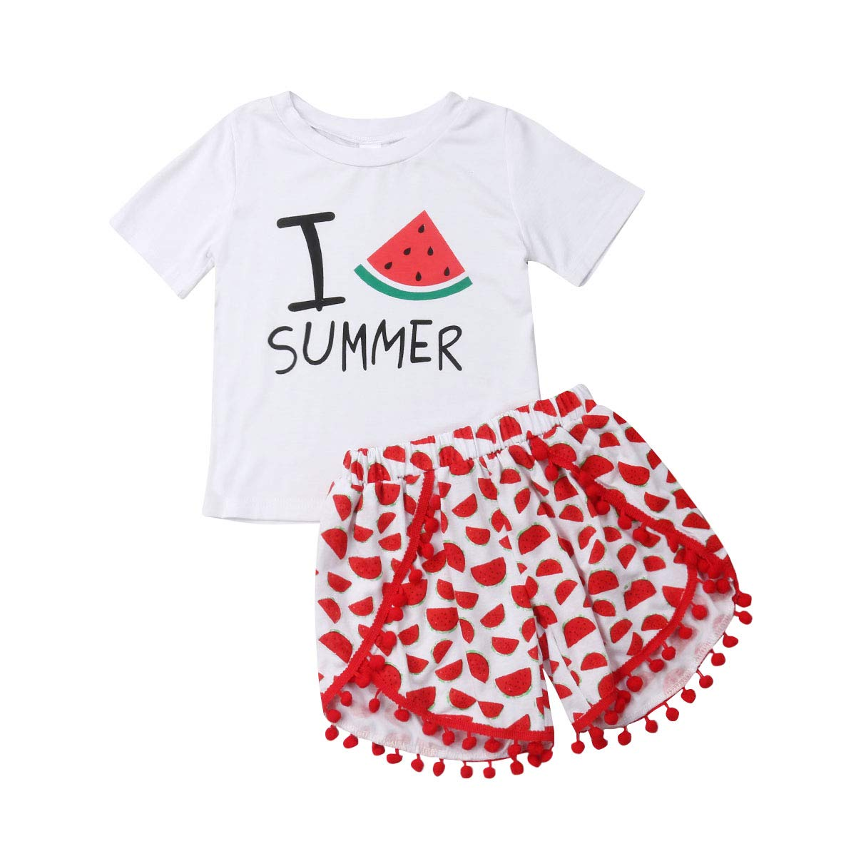 New Carter/'s 3 Piece Girls Summer Outfit 2 Tops Shorts 3T 4T 5T Floral Pom Pom