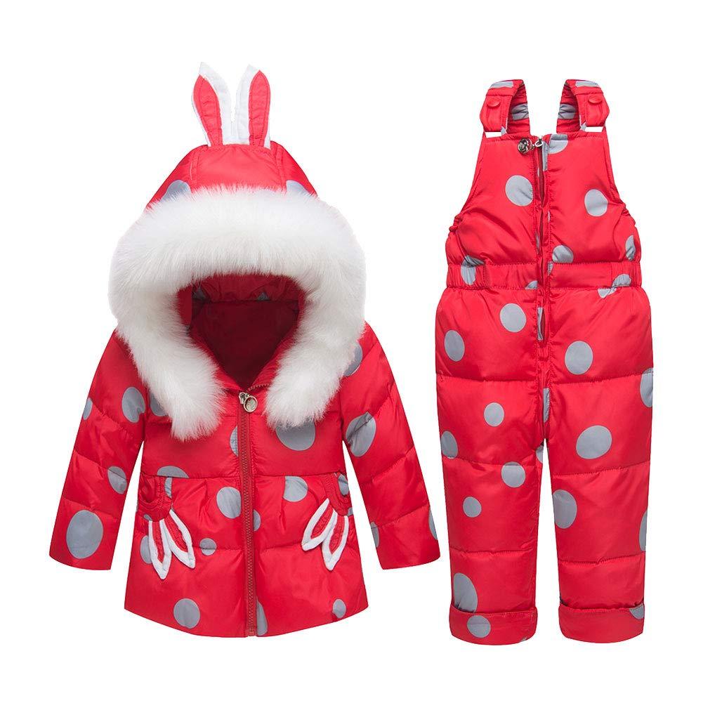 LPATTERN Bébés Combinaison de Neige Ski Doudoune Parka à Capuche Rembourré Filles Garçons Manteau de Duvet Hiver avec Salopette Coupe-Vent Épais 2PCS 0-3 Ans Q79678