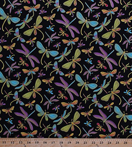 Cotton Dragonflies Dragonfly Colorful Bugs Insects Nature Gold Metallic Shimmer Glitter Cotton Fabric Print by The Yard (dragonfly-m1-black)