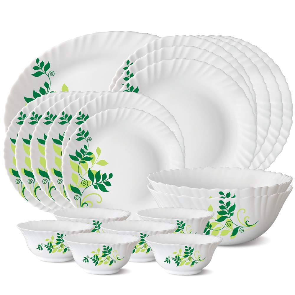 Larah by Borosil Fern Opalware Dinner Set, 21-Pieces, White
